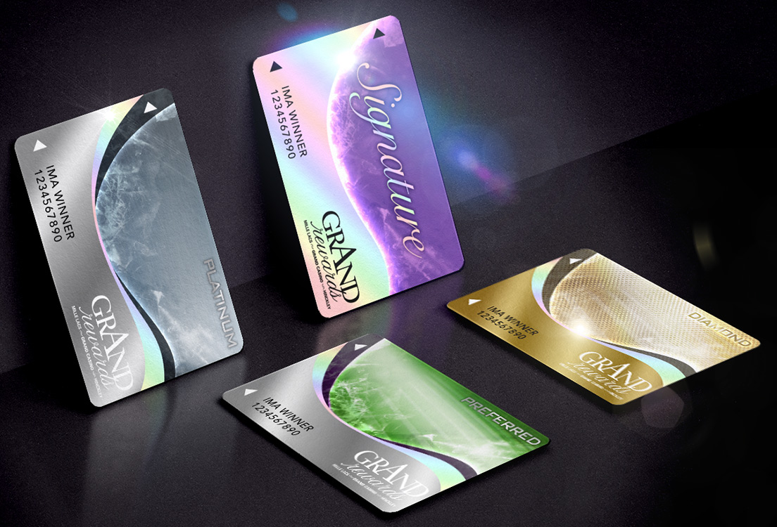 Rewards club membership card designs for Grand Casino Reflective